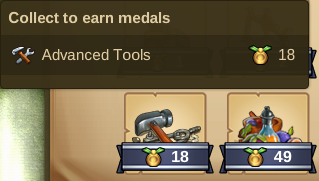 Collect Advanced Tools - 18 Medals